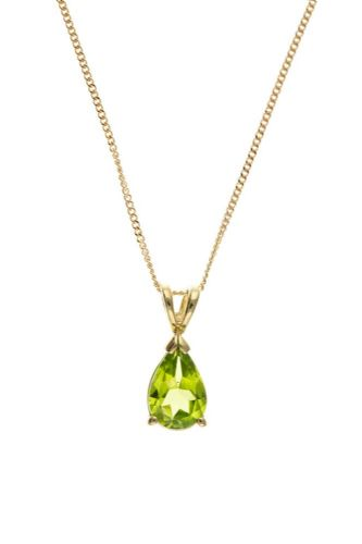 Pear Shaped Yellow Gold Peridot Necklace
